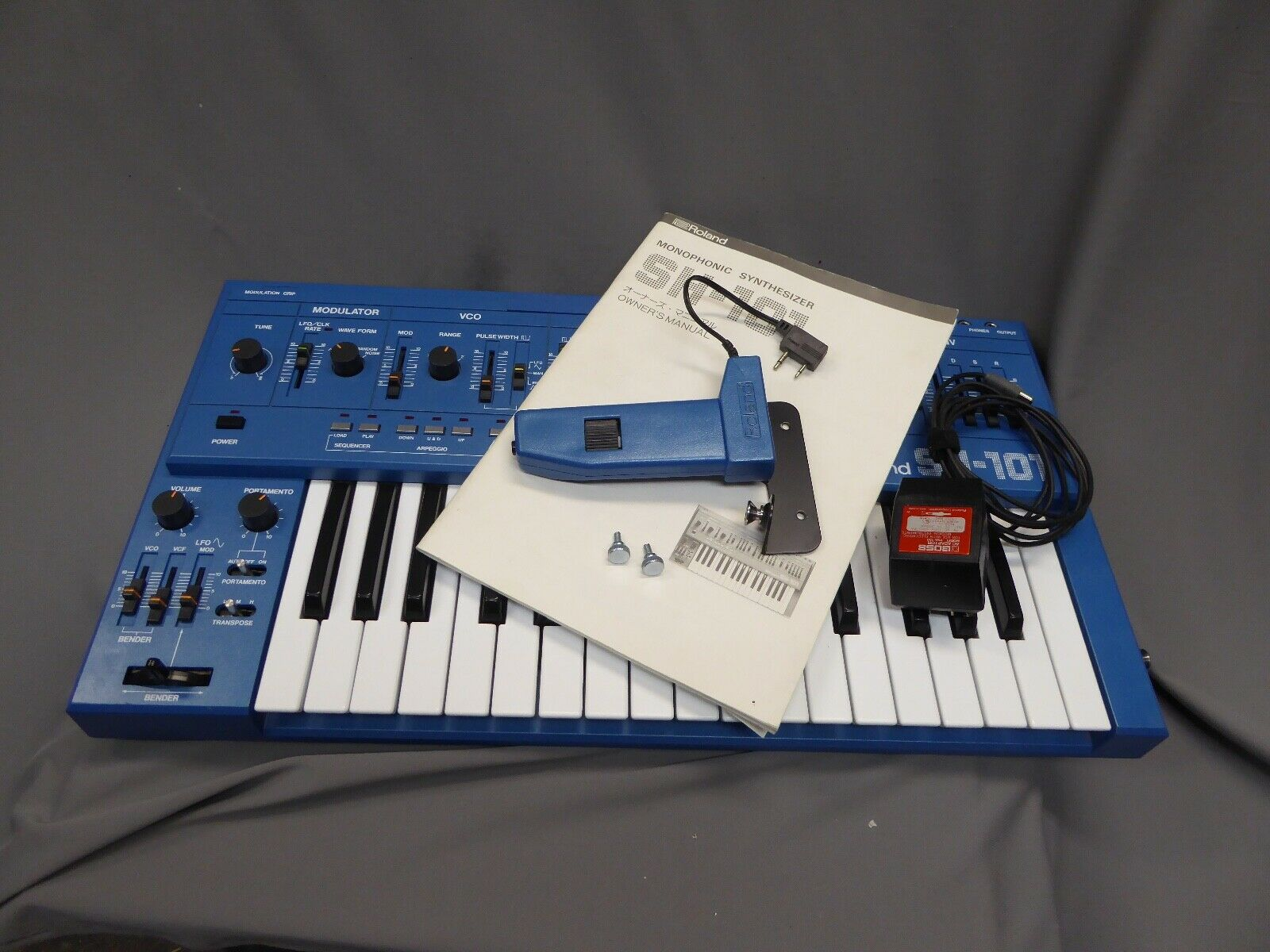 MATRIXSYNTH: Blue Roland SH-101 Synthesizer w/grip, manual & AC adapter