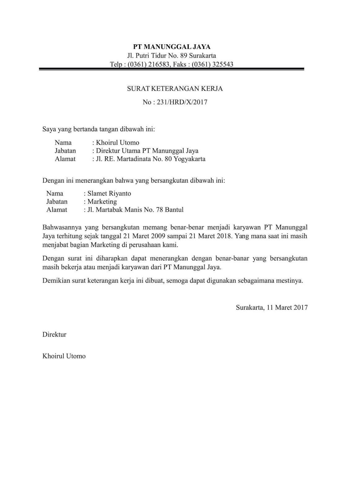 Contoh Surat Keterangan Karyawan
