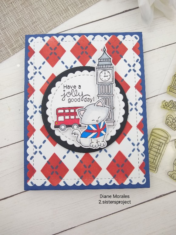 Have  a jolly good day by Diane features Newton Loves London, Plaid, Frames & Flags, and Circle Frames by Newton's Nook Designs; #newtonsnook #cardmaking