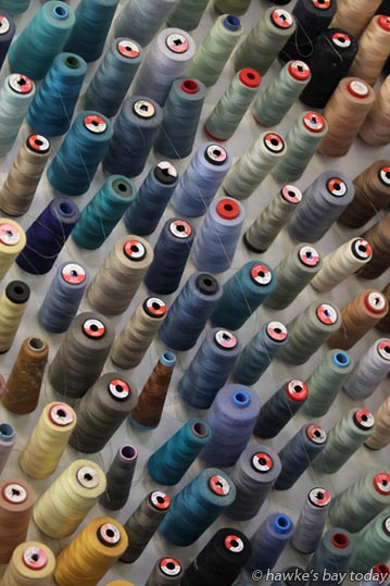 Bobbins of cotton at Onekawa Curtains and Blinds, Napier. photograph