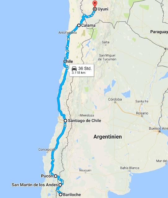 Route, von Bariloche nach Uyuni