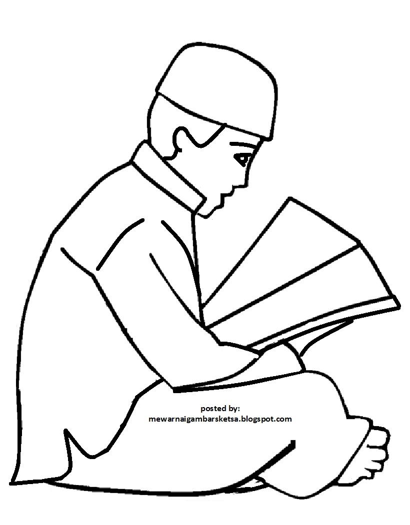 Mewarnai Gambar Mewarnai Gambar Sketsa Kartun Anak Muslim 46