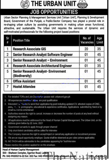 The Urban Unit Punjab Jobs 2021 | Government of Punjab Jobs 2021