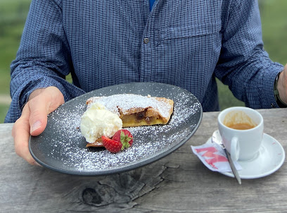 Lunch dishes and dessert at Rifugio Scoiattoli.