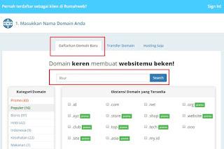 Pada halaman ini, Anda dapat memasukkan nama domain yang ingin Anda beli