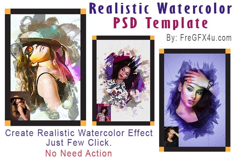 06 Realistic Watercolor PSD Templates