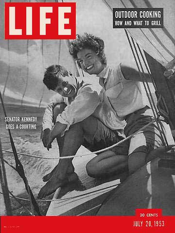 Senator Kennedy and Jacqueline Bouvier on the Victura, Life magazine cover, July 20, 1953