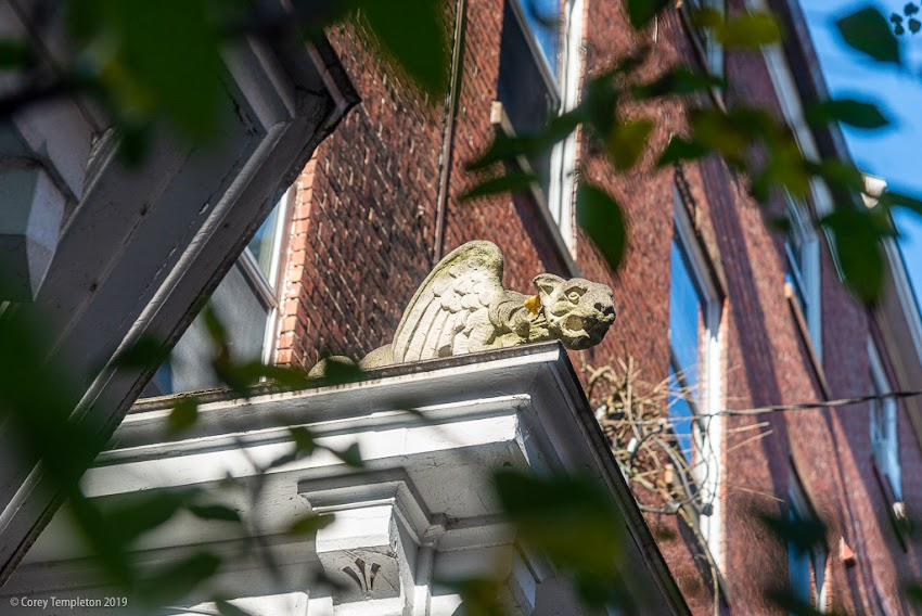 Portland, Maine USA September 2019. Photo by Corey Templeton. A friendly gargoyle perched above Park Street.
