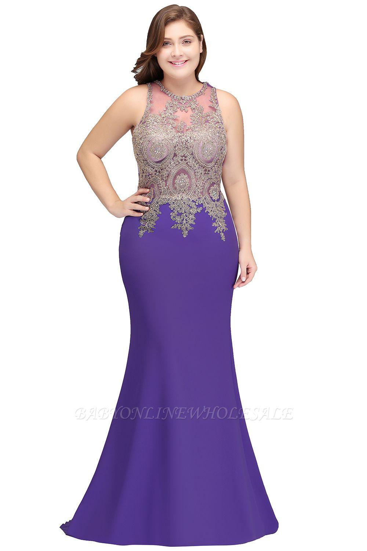 IVORY   Mermaid Sleeveless Crew Floor Length Plus size prom Dresses with Appliques