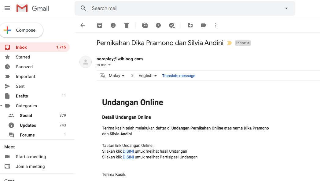 link tautan inbox email undangan pernikahan