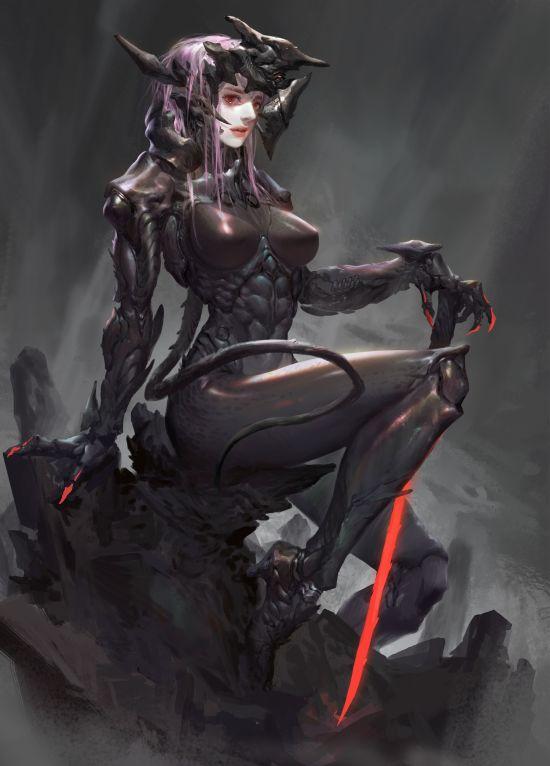 Bei Yan artstation arte ilustrações mulheres fantasia ficção científica china