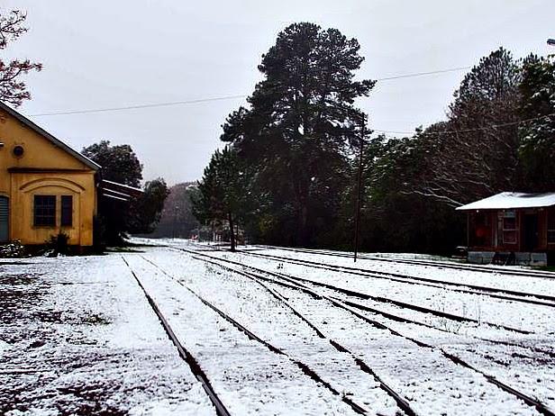 Neve na Estação Ferroviária de Caxias do Sul