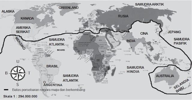 Peta Persebaran secara umum negara-negara maju dan berkembang.