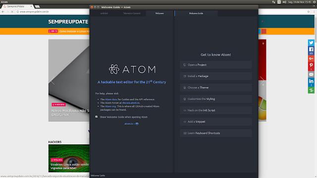 Atom 1.12.2 sendo executado no Ubuntu 16.04