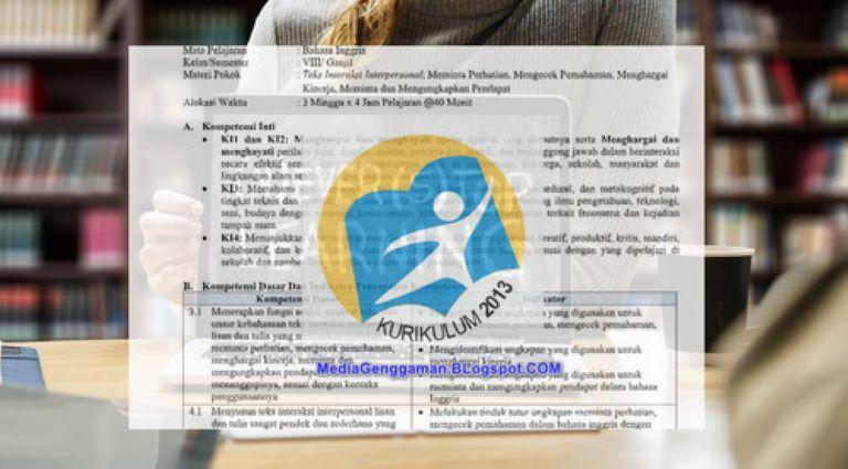 RPP Bahasa Inggris Kelas 1, 2, 3 SD MI Semester 2 K-13 Edisi Revisi 2019