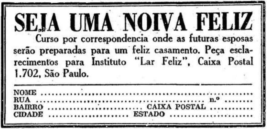 Propaganda antiga o Instituto Lar Feliz com curso para noivas em 1952