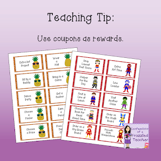 "Classroom Coupons with Pineapple and Superhero Theme with the text ""Teaching Tip: Create Classroom Coupons"""