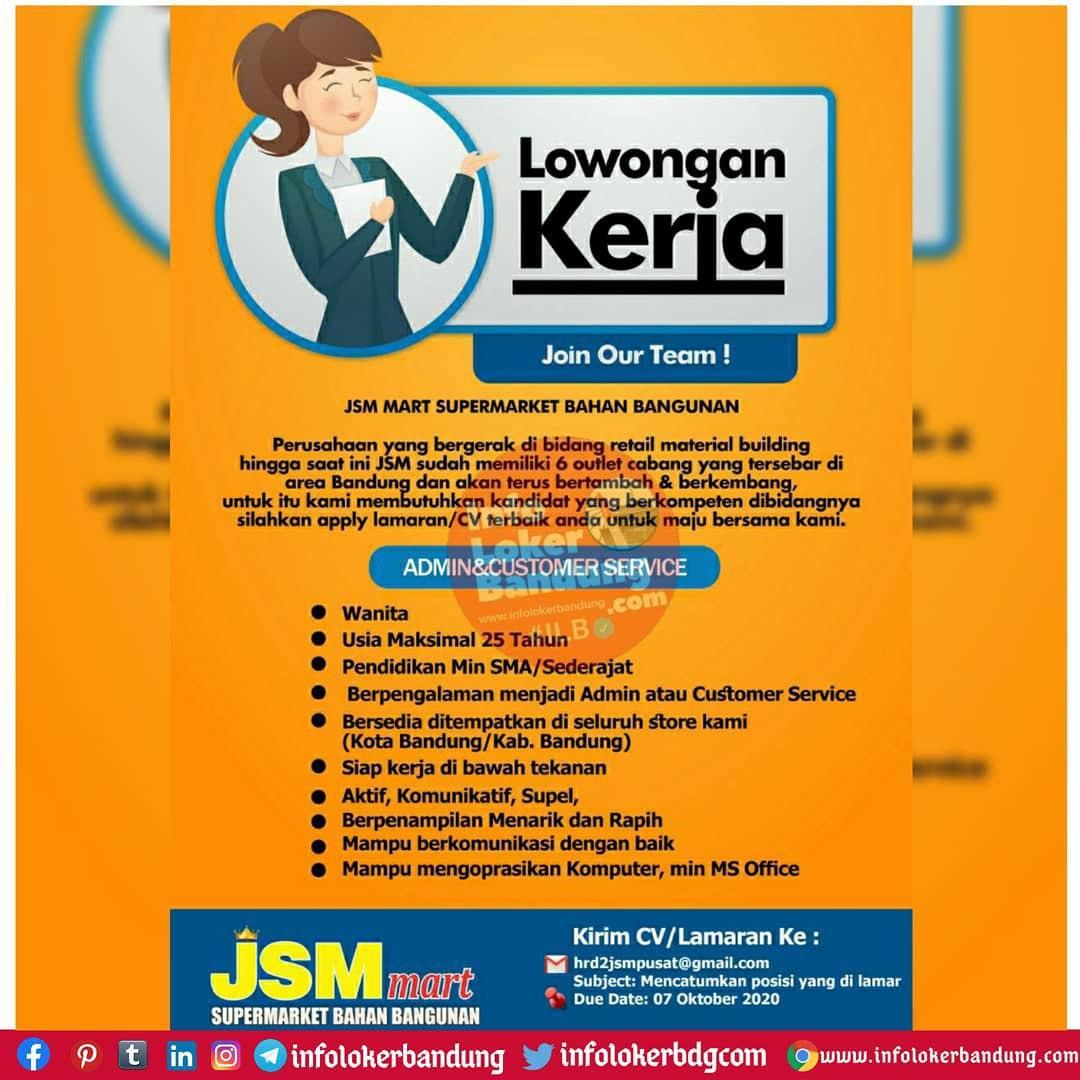 Lowongan Kerja JSM Mart Bandung Oktober 2020