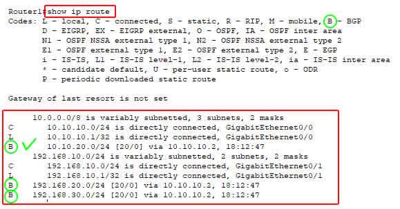 show ip route BGP router