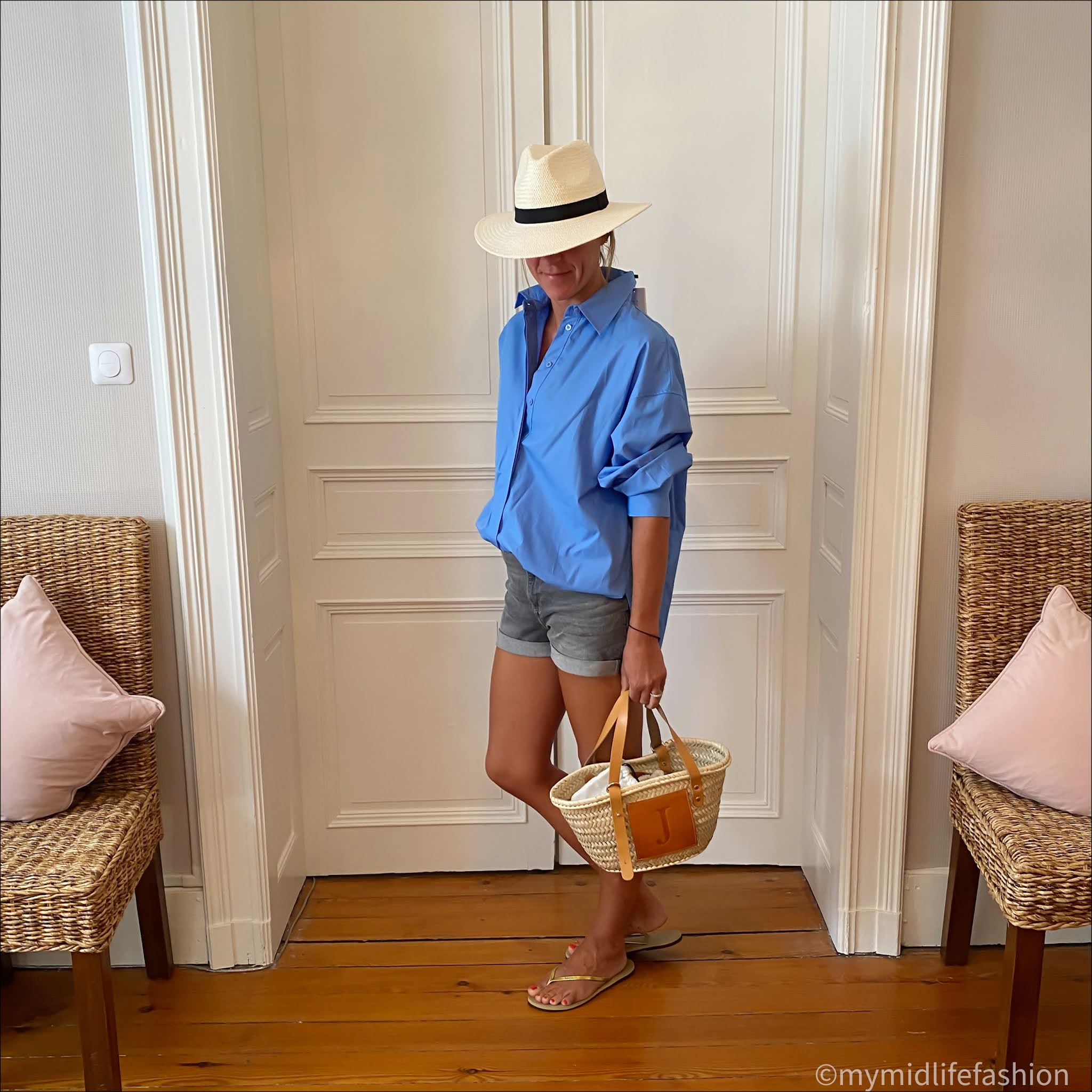 my midlife fashion, zara poplin shirt, h and m denim shorts, lada jewelry monogrammed basket, havaianas slim fit gold flip flops, zara straw Panama hat