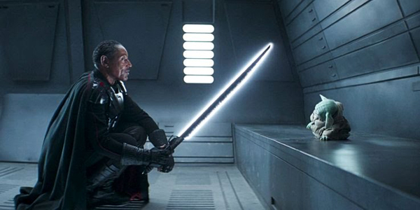 Moff Gideon (Giancarlo Esposito) confronts Grogu in THE MANDALORIAN - Chapter 14: The Tragedy.