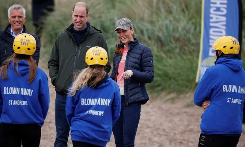 Kate Middleton wore a Barbour Longshore quilted jacket and a new pink and white knit jumper from Scottish label, Campbells of Beauly