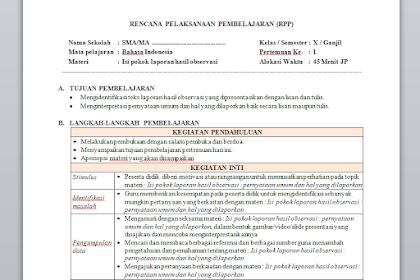 RPP 1 Lembar Bahasa Indonesia Kelas 10 Semester 1 & 2