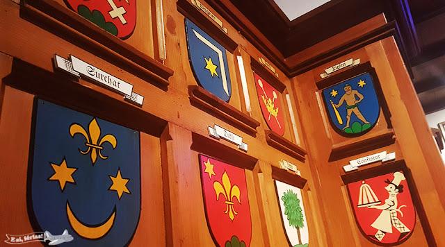 Brasões, Restaurante Pfistern, Lucerna, Suíça.