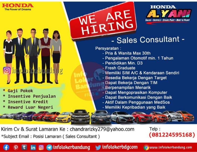 Lowongan Kerja Honda Ahmad Yani Bandung Februari 2021