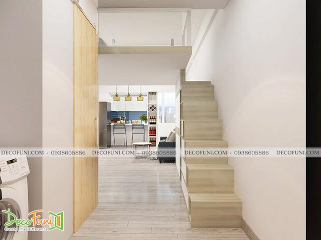 Thiết kế và thi công căn hộ chung cư ~30m2 có gác lửng - Cầu thang lên gác lửng