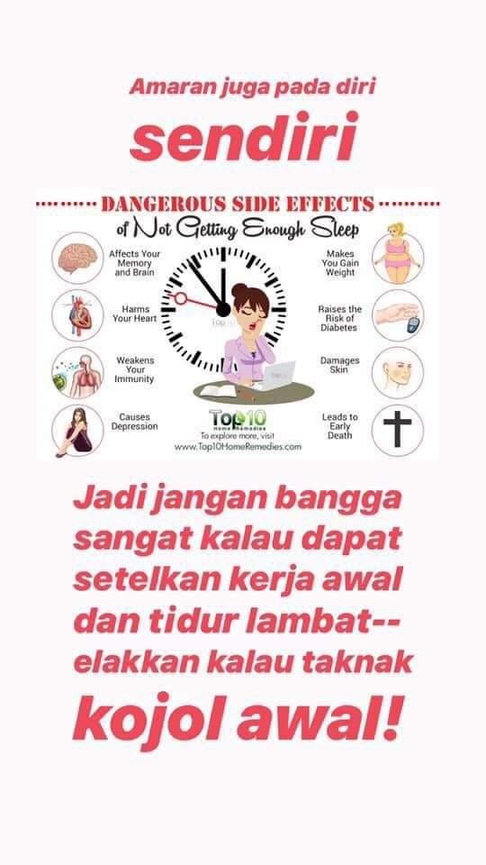 bahaya akibat tidur lewat tak cukup tidur