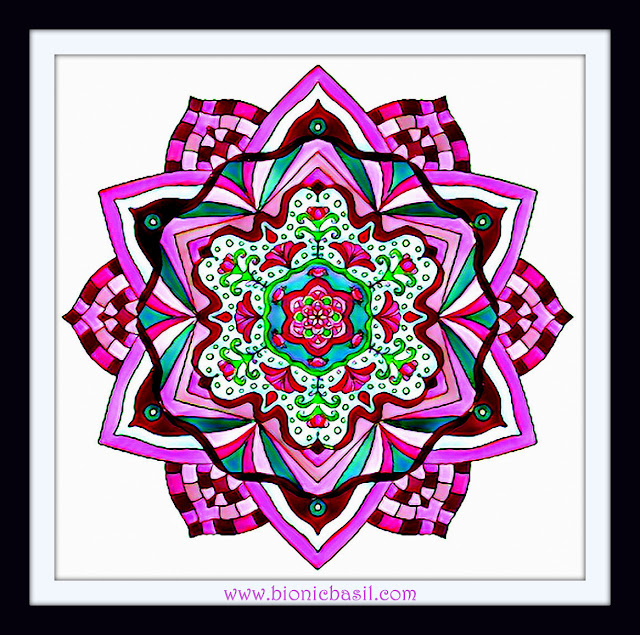 Mandalas on Monday ©BionicBasil® Colouring With Cats Mandala #120 coloured by Cathrine Garnell