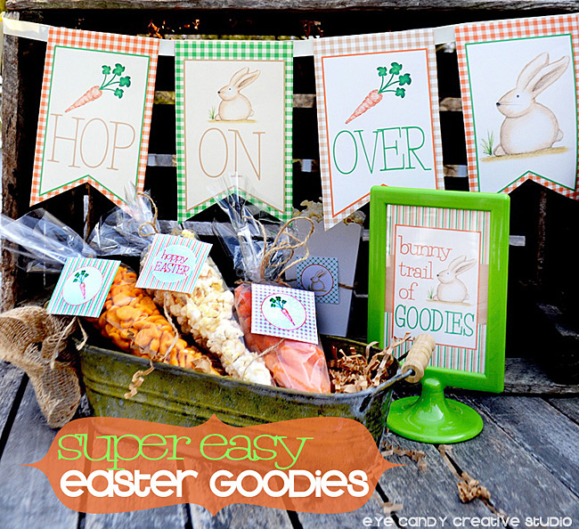 super easy easter goodies, hop on over banner, hoppy easter, snacks