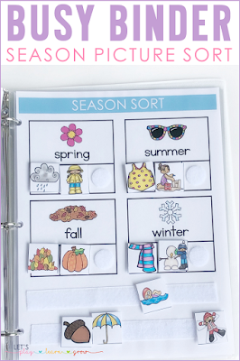 Season Picture Sort Busy Binder Page