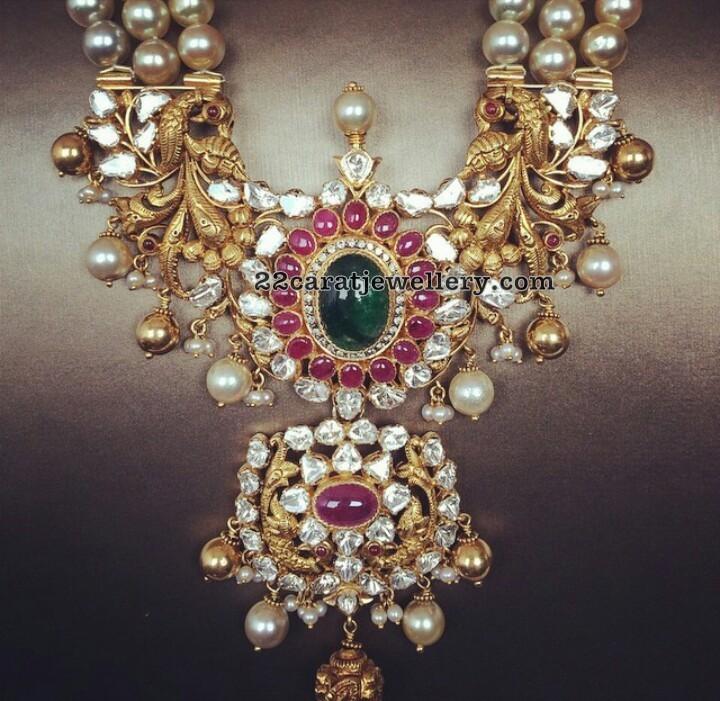 Three Layer South Pearls Set Huge Pendant