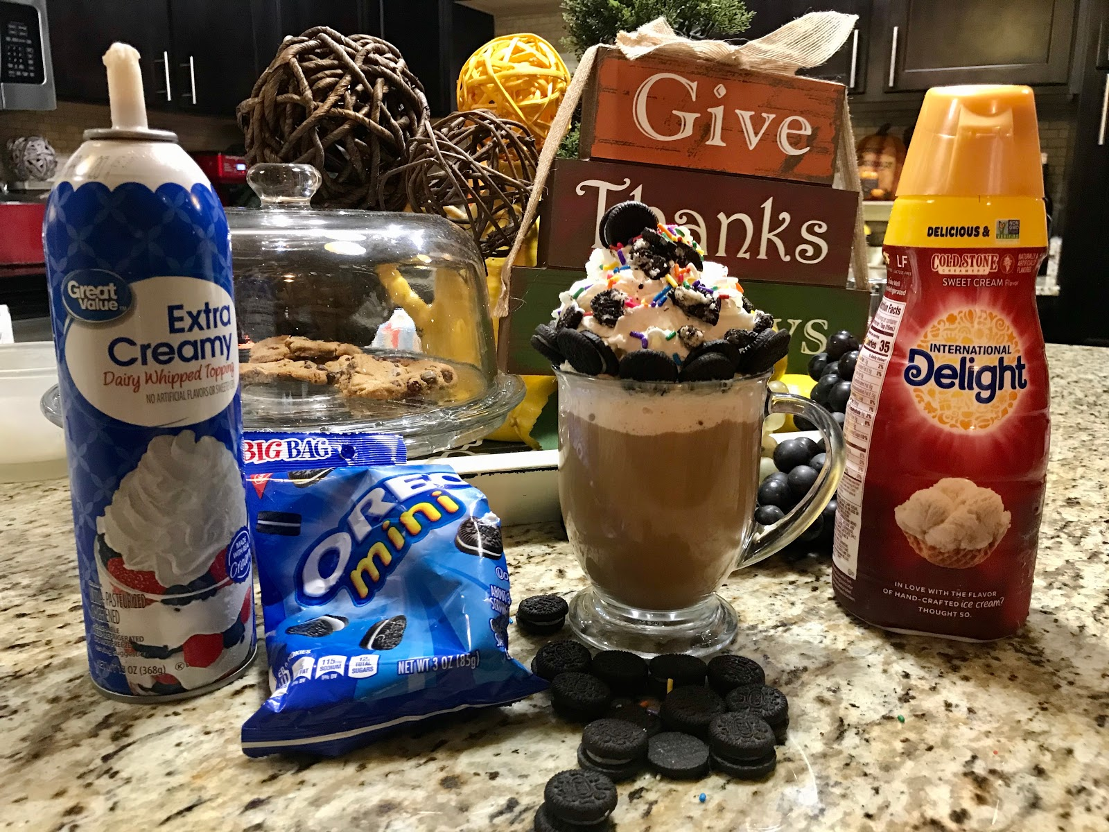 Make These Three Coffees: Do Not Do The Third One - It's Ugly! Recipe oreo cookies, whip cream, stone cold creamer and coffee