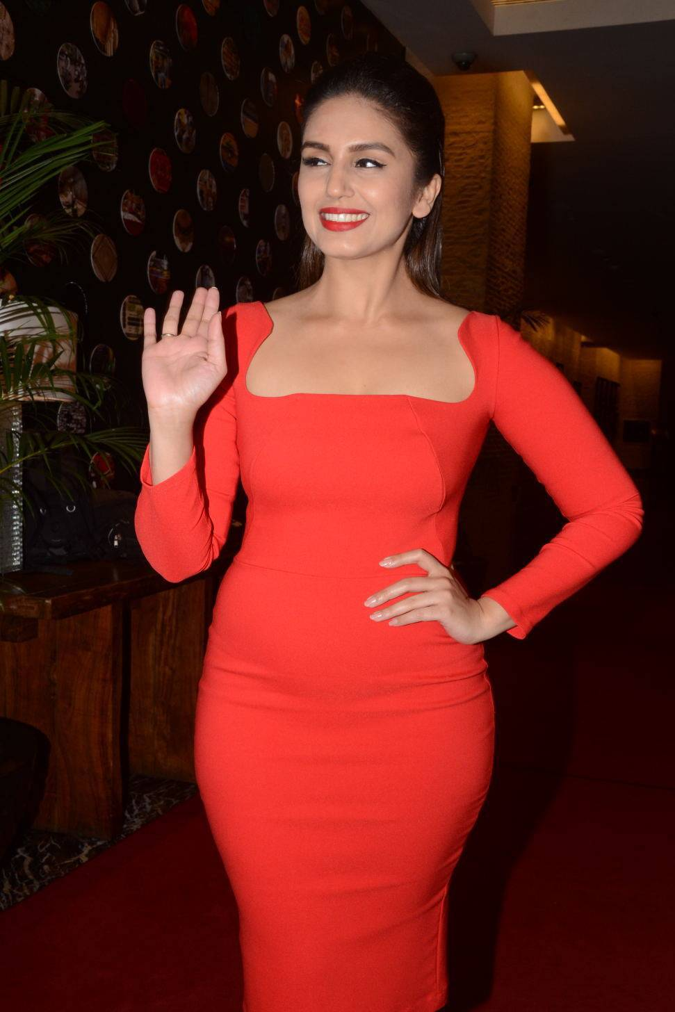Bollywood Actress Huma Qureshi in Red Dress at Siima ...