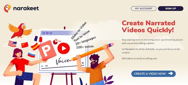 Artwork on the Narakeet home page