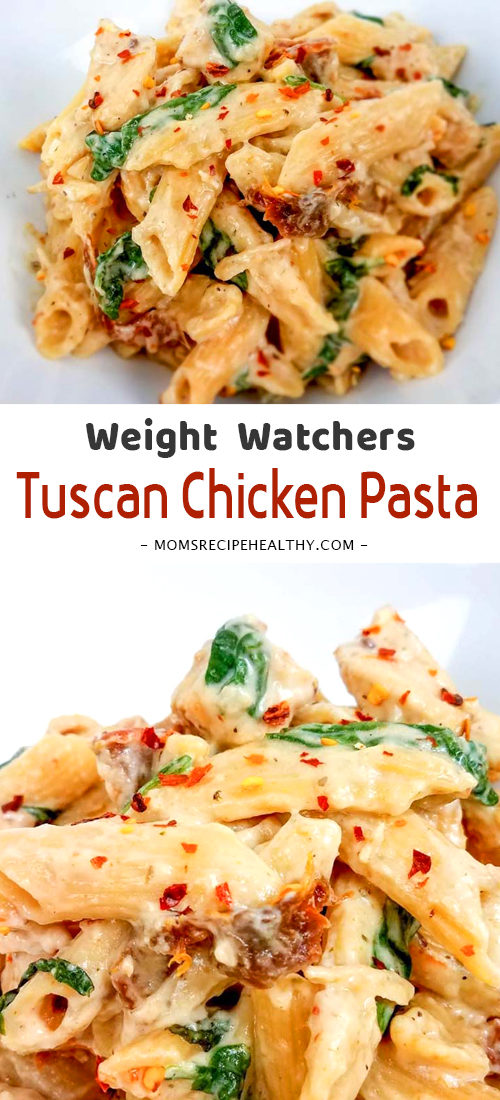 This Weight Watchers Tuscan Chicken Pasta is a delicious and easy weeknight meal that your entire family will love! #ChickenRecipes #Crockpot #InstantPot #SlowCooker #WeightWatchers