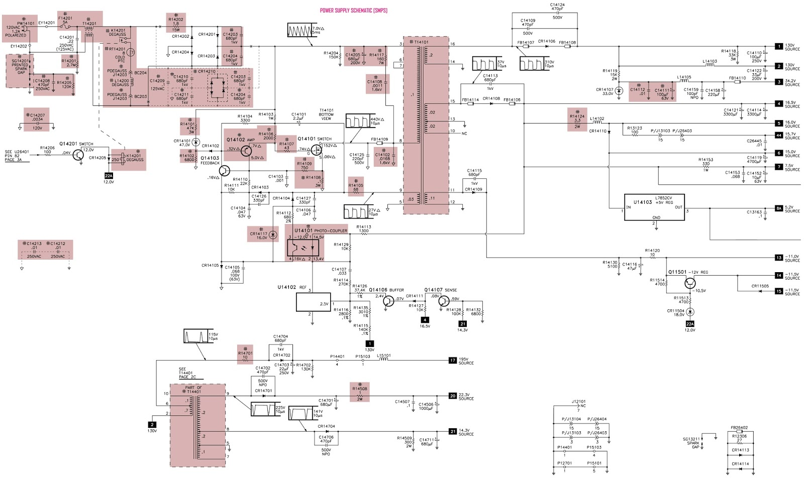 Electro Help  Power Supply Circuit Diagram  Schematic  - Ge 27gt 630tx 51