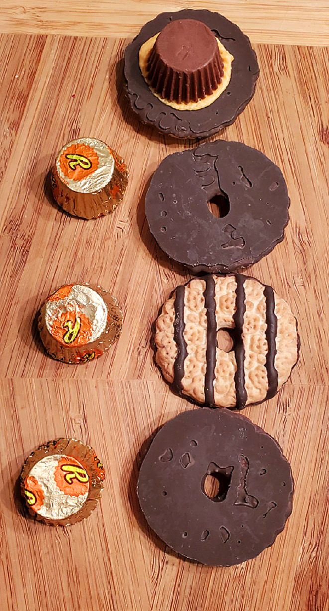 these are store bought cookies, peanut butter cups and made into Pilgrim Hats