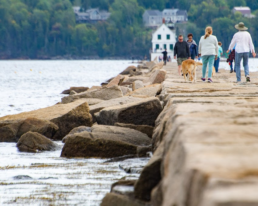 Rockland, Maine USA Breakwater Lighthouse and Rocks September 2019 photo by Corey Templeton.