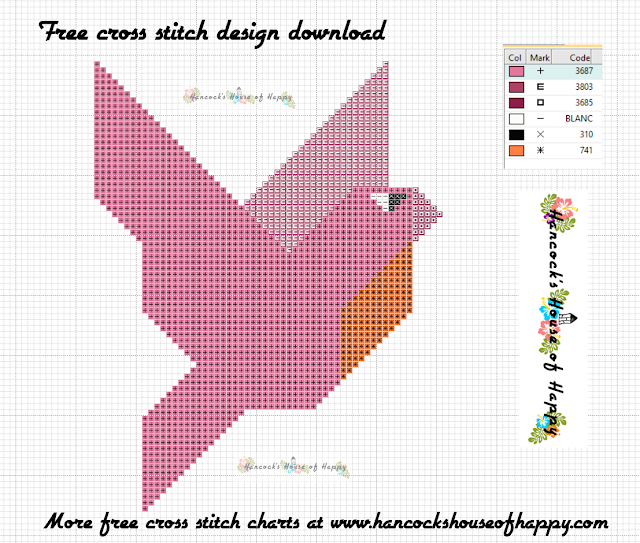 Free Beginner Cross Stitch Design to Download: Geometric Pink Parakeet