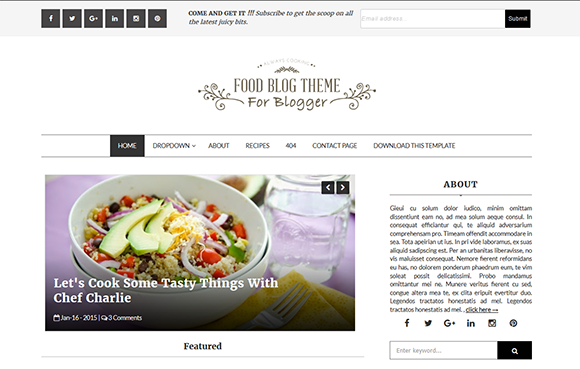 Food blog blogger template high quality free blogger for Free html blog templates