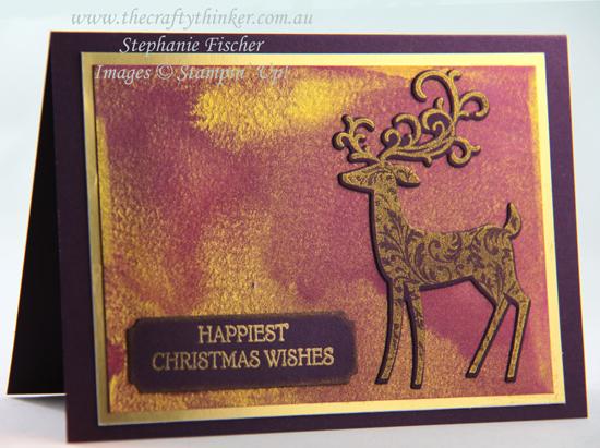 #thecraftythinker #stampinup #cardmaking #christmascard #dashingdeer , Dashing Deer, Detailed Deer, Golden Glitz watercolour background, Christmas Card, Stampin' Up Demonstrator, Stephanie Fischer, Sydney NSW