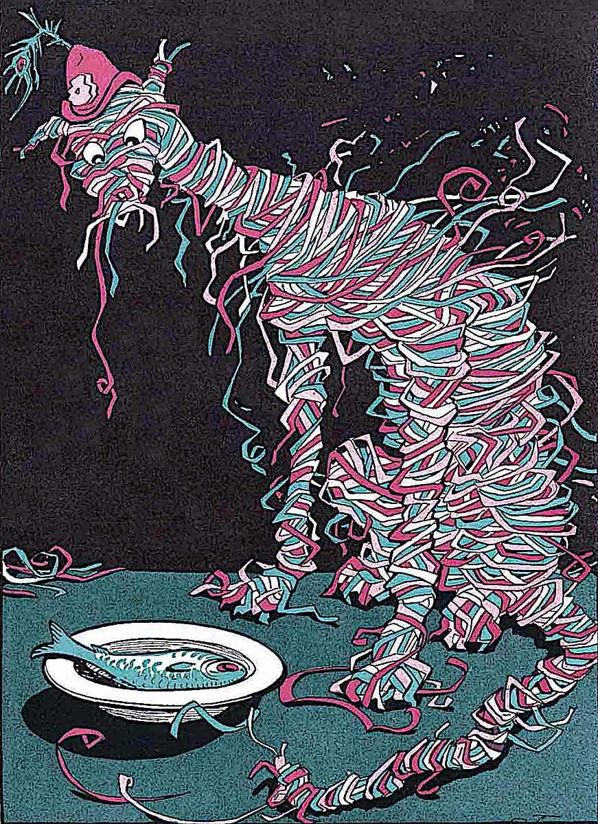 a Carl Olof Petersen illustration of a cat wrapped in confetti