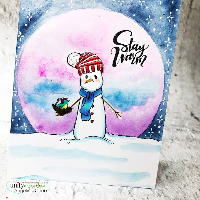 ScrappyScrappy: Unity Stamp Brown Thursday 2019 - Watercolor winter night sky #scrappyscrappy #unitystampco #card #cardmaking #stamping #papercraft #youtube #quicktipvideo #unitystampbrownthursday #brownthursday #winternightsky #snowman #staywarm #janedavenport #watercolors #watercolorpainting #janedavenportwatercolor #christmascard #holidaycard #christmas2019