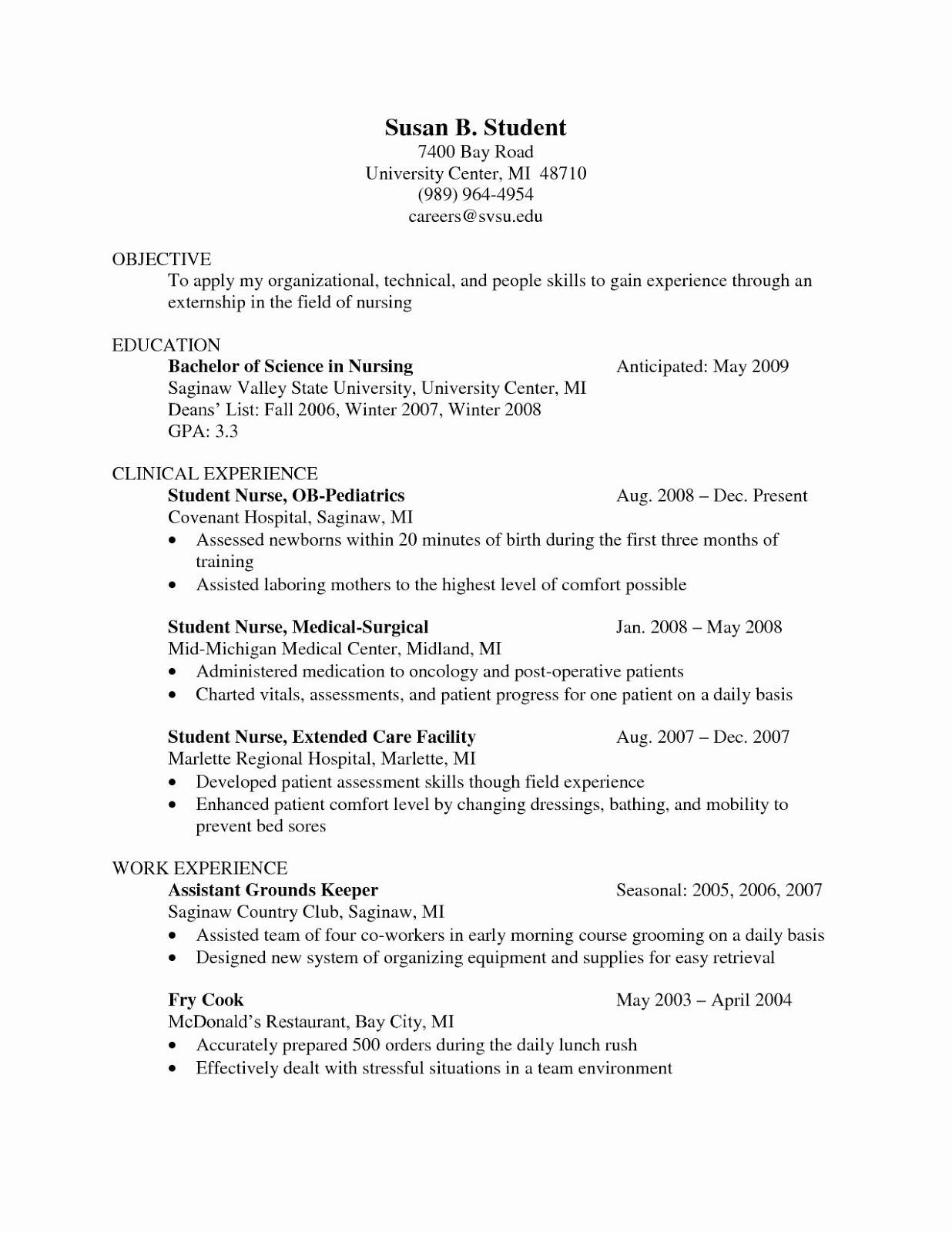 Ob Nurse Resume Objective 2019 Ob Nurse Resume Templates 2020
