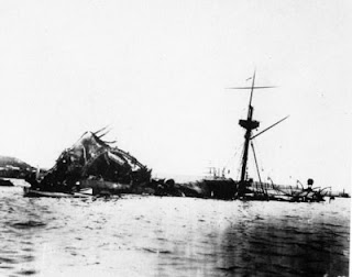 Wreckage of the USS Maine in 1898