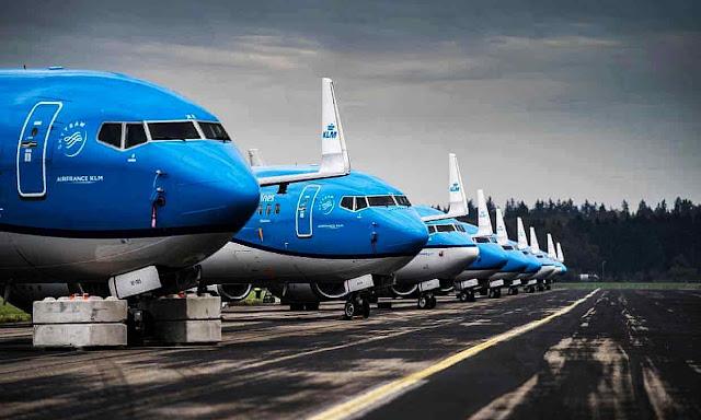 Aviones parados pelo lockdown da pandemia. Modelo para 'salvar o clima'